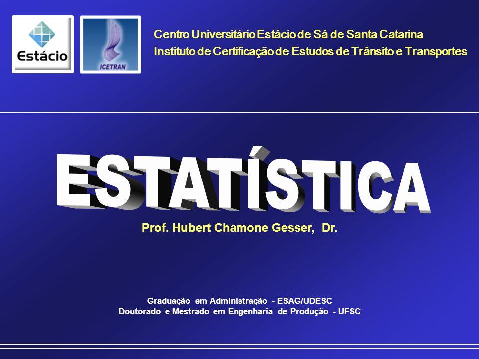Prof. Hubert Chamone Gesser, Dr. Disciplina de Estatística Retornar Medidas de Tendência Central