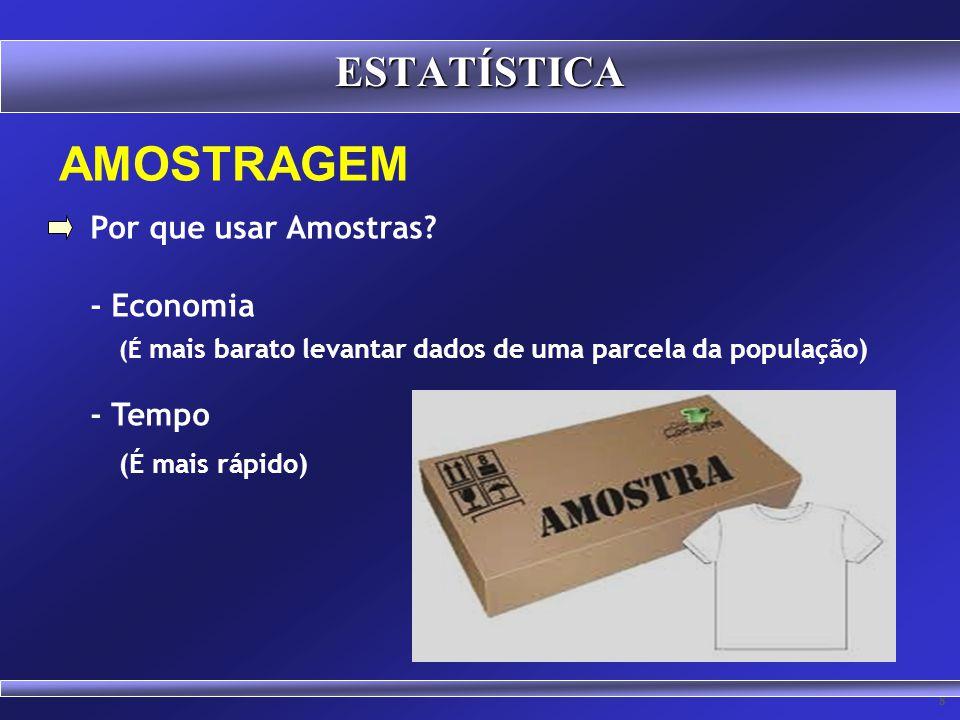 107 AMOSTRAGEM AMOSTRA significa um subconjunto de elementos pertencentes a uma população. ESTATÍSTICA