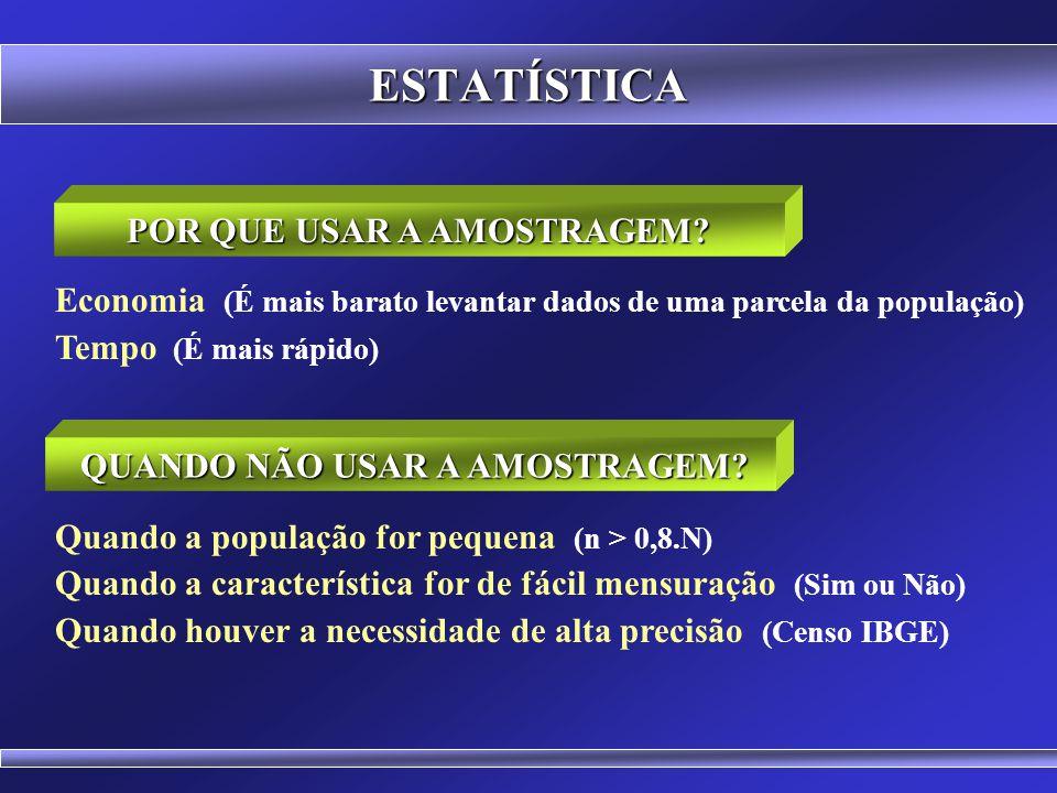 ESTATÍSTICA Pesquisa Mercadológica (Índice de satisfação na população) Pesquisa Epidemiológica (Prevalência de uma doença na população) Pesquisa Eleit