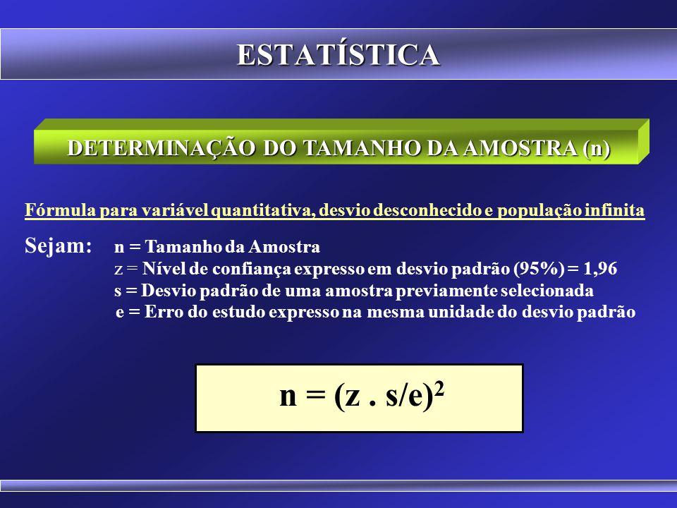 ESTATÍSTICA Fórmula para variável quantitativa, desvio conhecido e população infinita Sejam: n = Tamanho da Amostra z = Nível de confiança expresso em