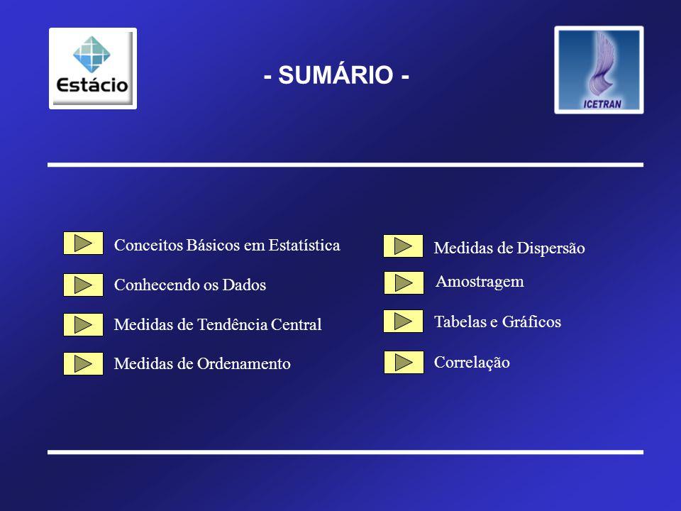 - SUMÁRIO - Conceitos Básicos em Estatística Conhecendo os Dados Medidas de Tendência Central Medidas de Ordenamento Medidas de Dispersão Tabelas e Gráficos Amostragem Correlação