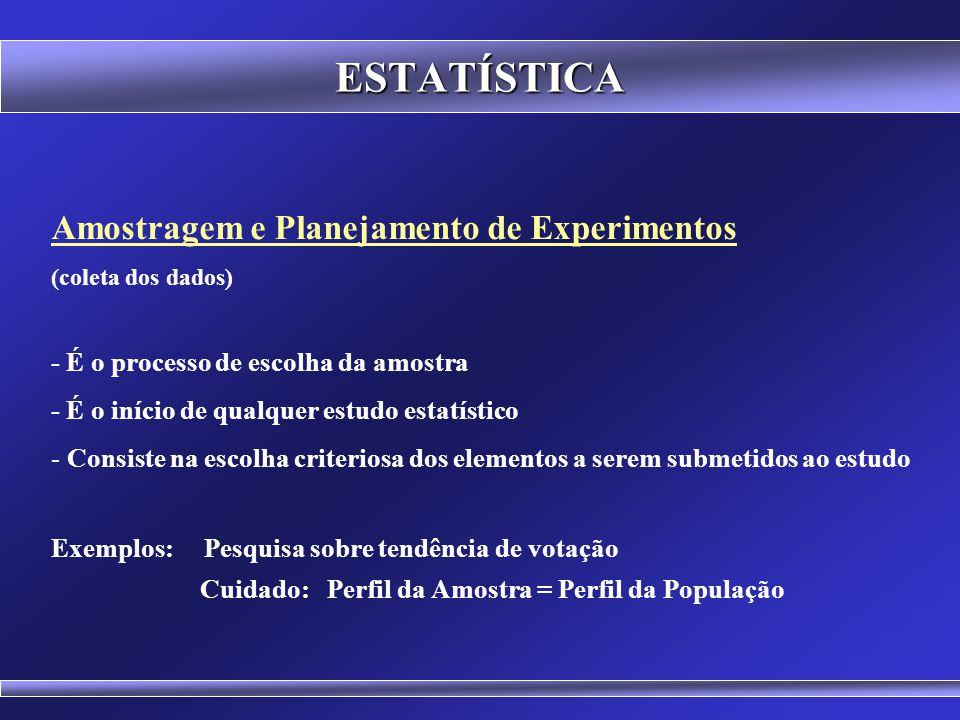 ESTATÍSTICA Amostragem e Planejamento de Experimentos (coleta dos dados) Estatística Descritiva (organização, apresentação e sintetização dos dados) E
