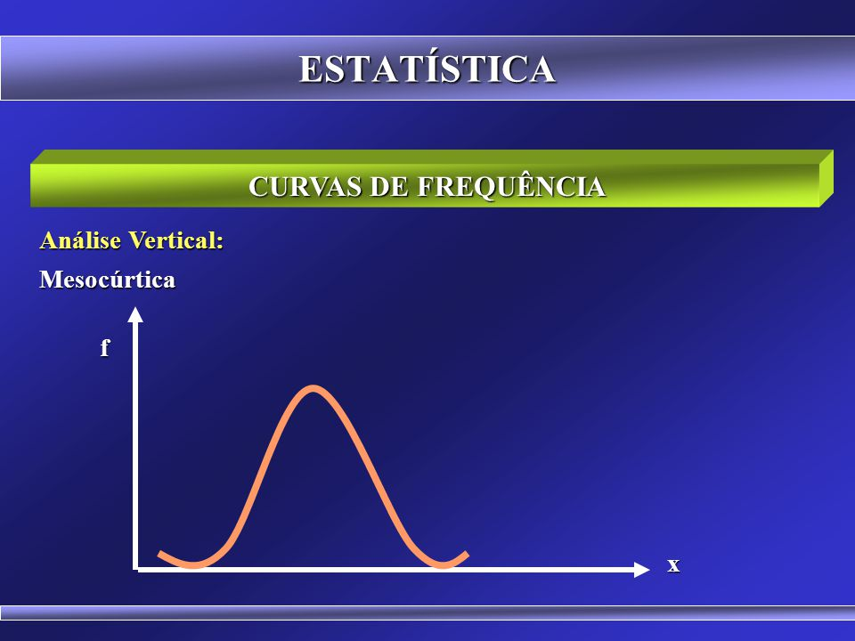 ESTATÍSTICA CURVAS DE FREQUÊNCIA Análise Vertical: Leptocúrtica (alta) f x