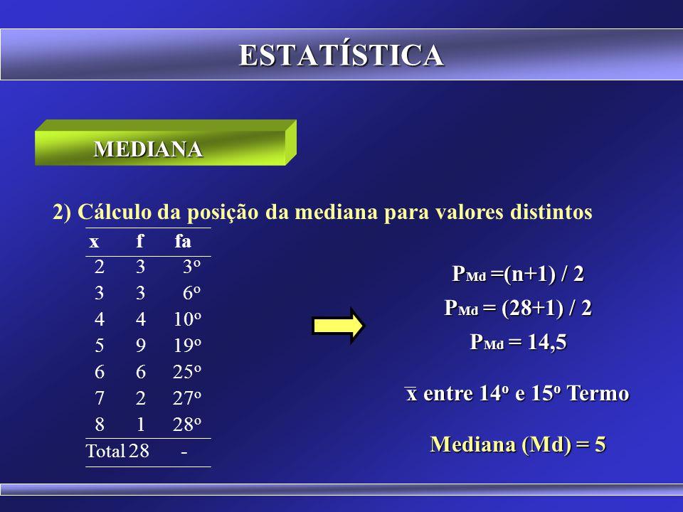 ESTATÍSTICA 1) Cálculo da posição da mediana para dados simples MEDIANA 2 3 4 5 6 7 8 9 10 P Md =(n+1) / 2 P Md = (9+1) / 2 P Md = 5 o Termo Mediana (