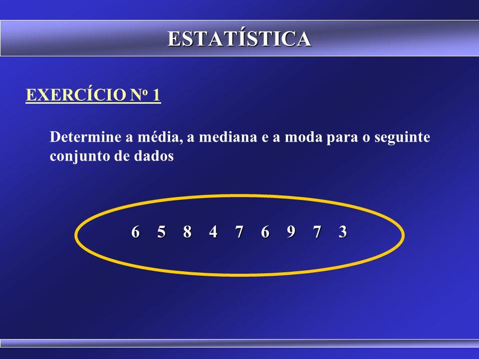 ESTATÍSTICA MÉDIA: Dados Numéricos e Intervalares É a medida mais utilizada. MODA: Dados Nominais MEDIANA: Dados Ordinais USO DAS MEDIDAS DE TENDÊNCIA