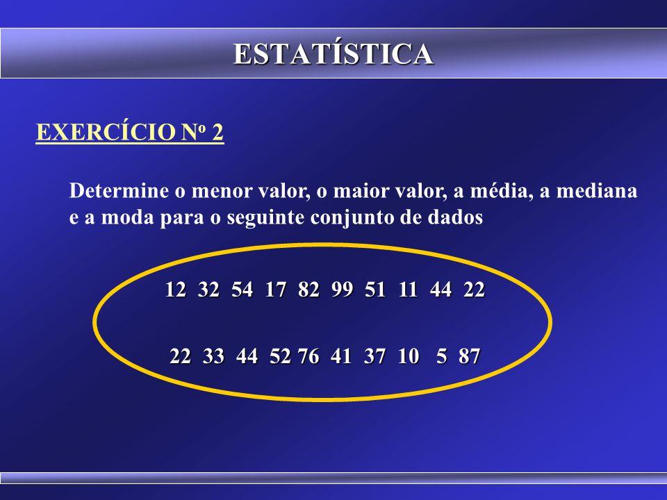 EXERCÍCIO N o 1 Determine a média, a mediana e a moda para o seguinte conjunto de dados ESTATÍSTICA 6 5 8 4 7 6 9 7 3