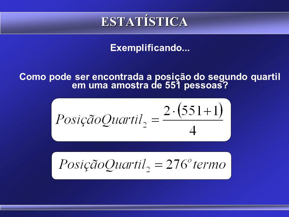 86 Cálculo de posições pela definição de Mendenhall e Sincich ESTATÍSTICA