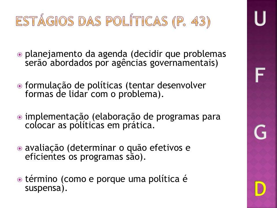 planejamento da agenda (decidir que problemas serão abordados por agências governamentais) formulação de políticas (tentar desenvolver formas de lidar