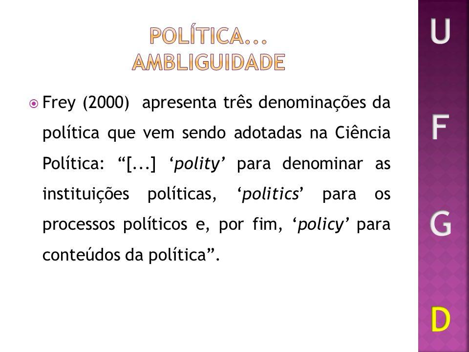 Frey (2000) apresenta três denominações da política que vem sendo adotadas na Ciência Política: [...] polity para denominar as instituições políticas,