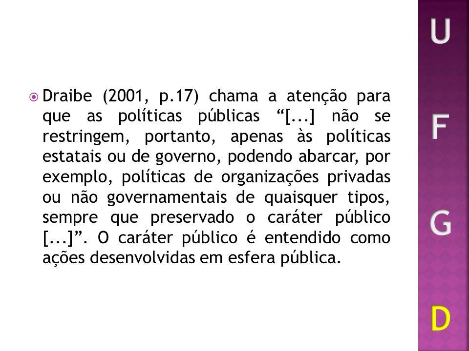 Draibe (2001, p.17) chama a atenção para que as políticas públicas [...] não se restringem, portanto, apenas às políticas estatais ou de governo, pode