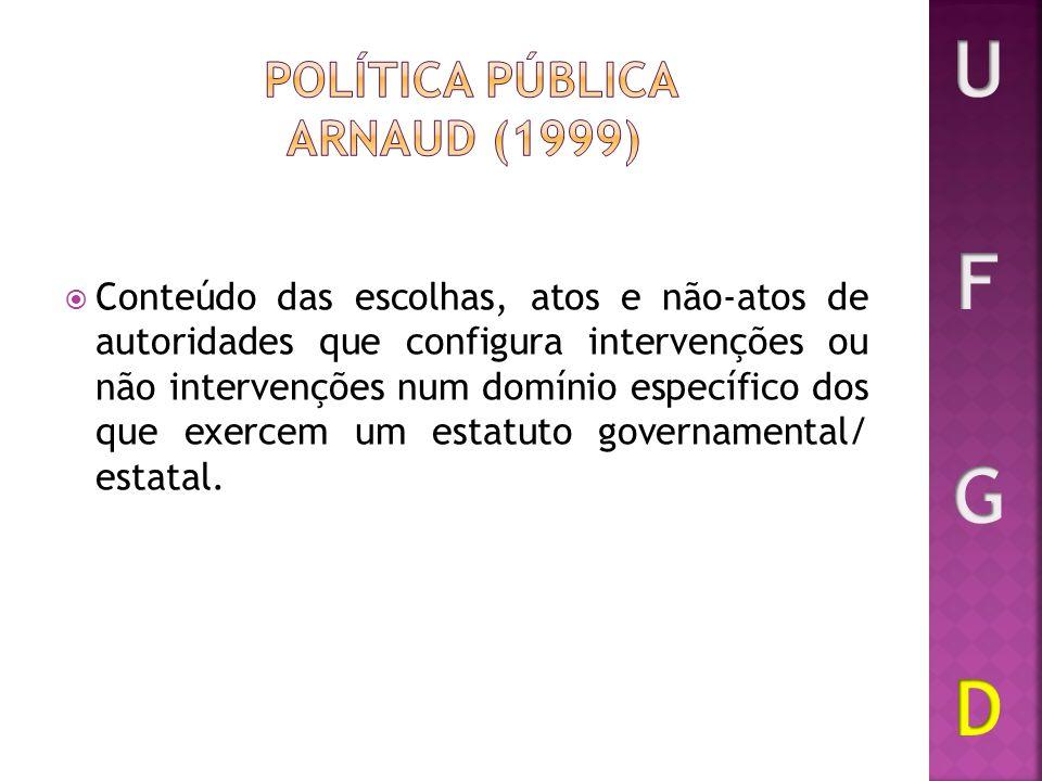 Conteúdo das escolhas, atos e não-atos de autoridades que configura intervenções ou não intervenções num domínio específico dos que exercem um estatut