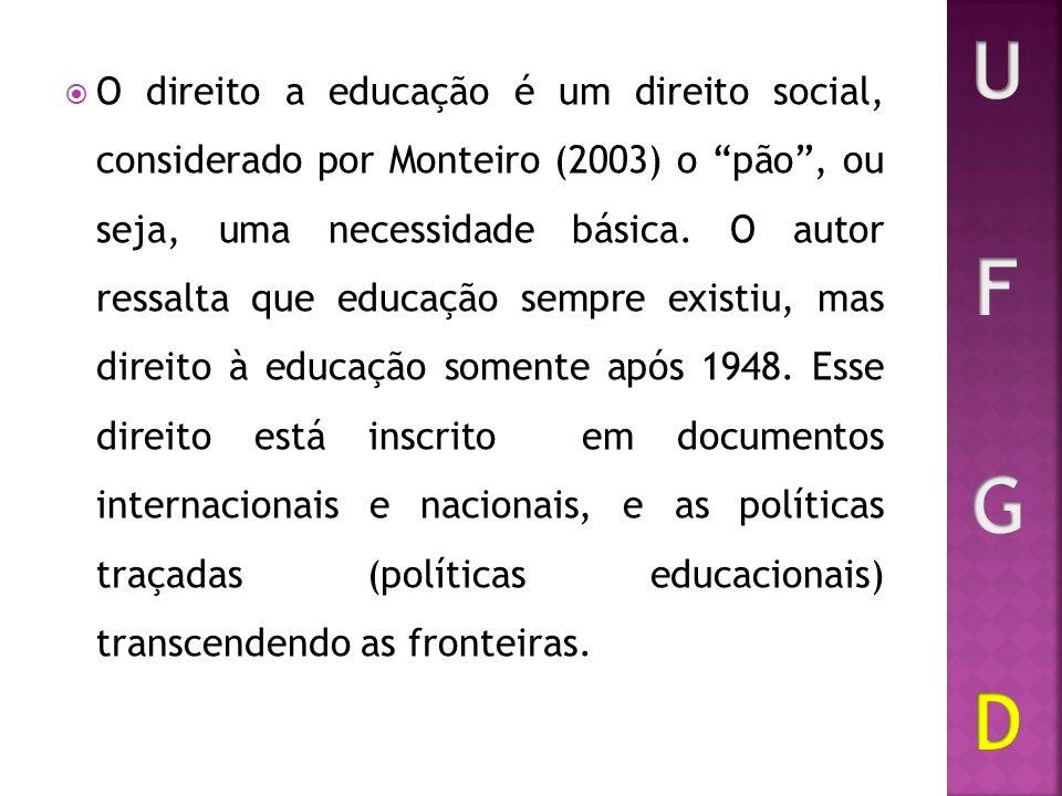 O direito a educação é um direito social, considerado por Monteiro (2003) o pão, ou seja, uma necessidade básica. O autor ressalta que educação sempre