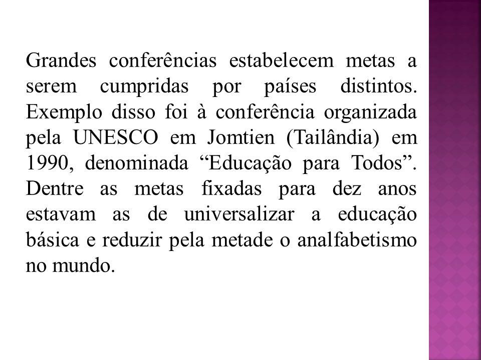 Grandes conferências estabelecem metas a serem cumpridas por países distintos. Exemplo disso foi à conferência organizada pela UNESCO em Jomtien (Tail