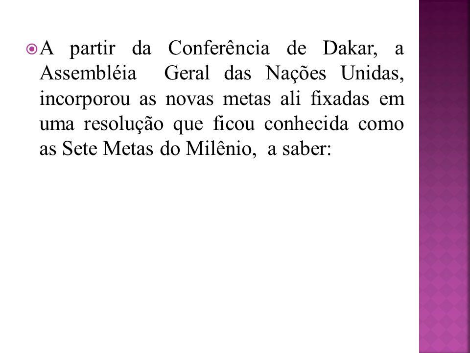 A partir da Conferência de Dakar, a Assembléia Geral das Nações Unidas, incorporou as novas metas ali fixadas em uma resolução que ficou conhecida com