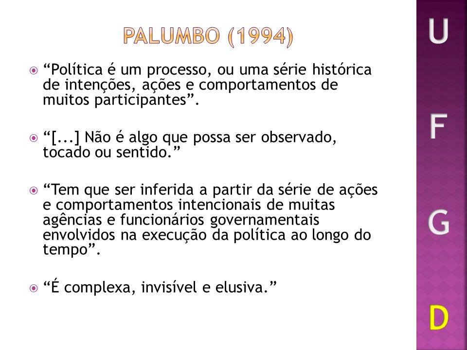 Política é um processo, ou uma série histórica de intenções, ações e comportamentos de muitos participantes. [...] Não é algo que possa ser observado,