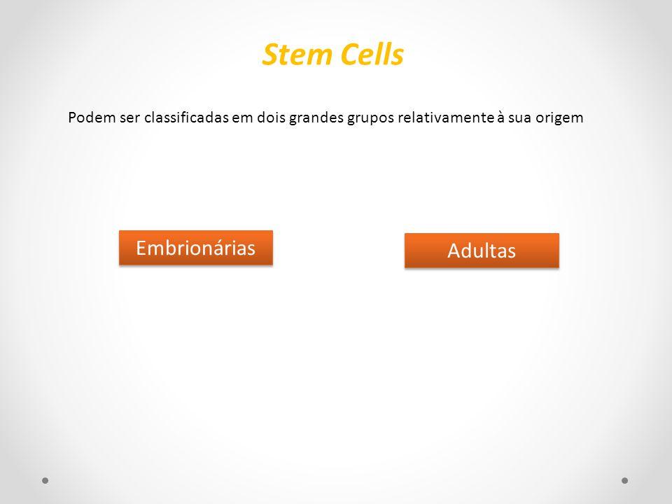 Podem ser classificadas em dois grandes grupos relativamente à sua origem Embrionárias Adultas Stem Cells