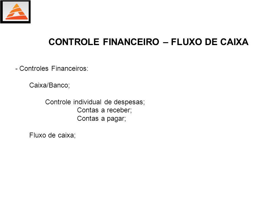 - Controles Financeiros: Caixa/Banco; Controle individual de despesas; Contas a receber; Contas a pagar; Fluxo de caixa; CONTROLE FINANCEIRO – FLUXO D