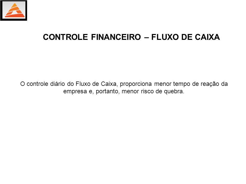 O controle diário do Fluxo de Caixa, proporciona menor tempo de reação da empresa e, portanto, menor risco de quebra. CONTROLE FINANCEIRO – FLUXO DE C