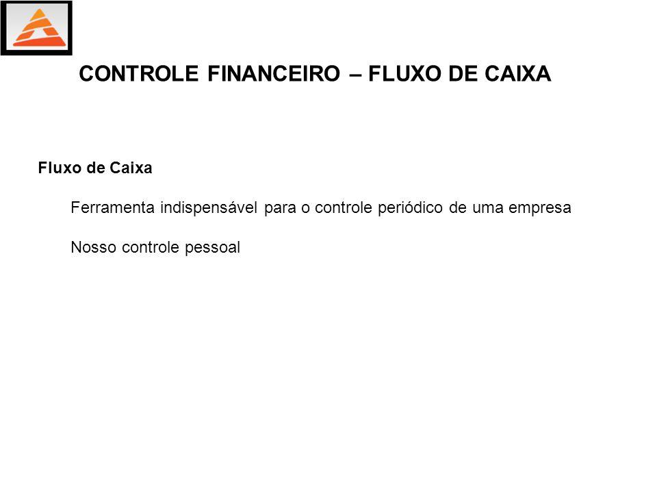 Fluxo de Caixa Ferramenta indispensável para o controle periódico de uma empresa Nosso controle pessoal CONTROLE FINANCEIRO – FLUXO DE CAIXA