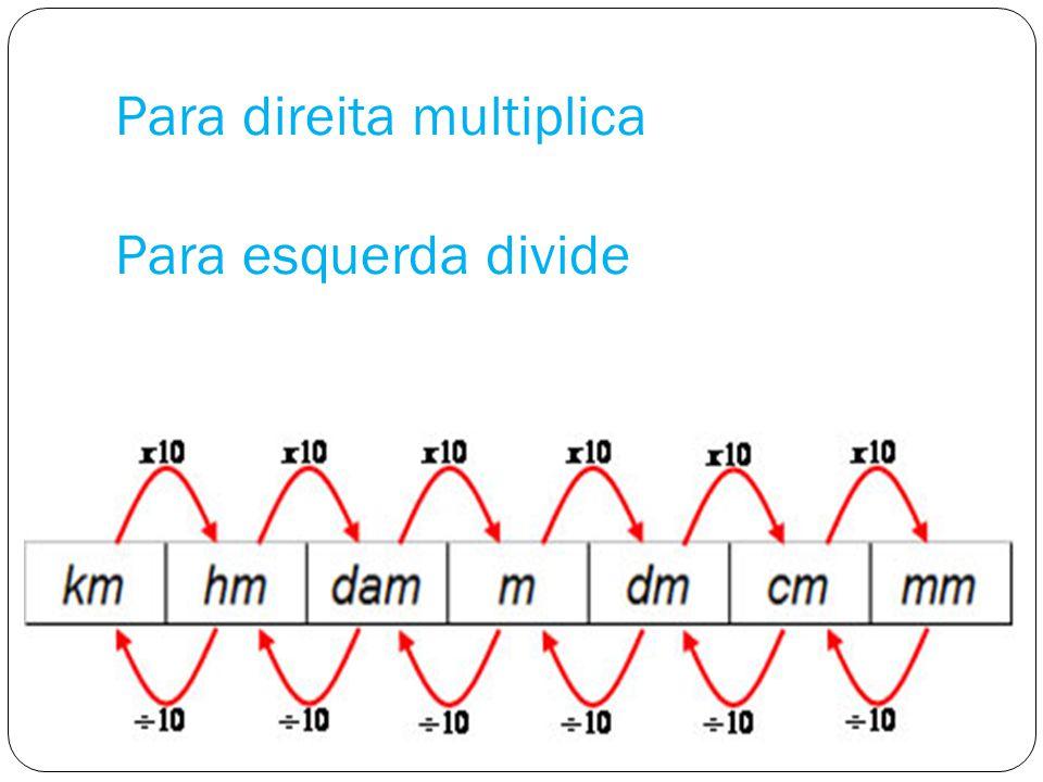 Para direita multiplica Para esquerda divide