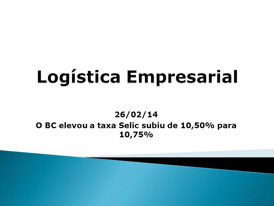 26/02/14 O BC elevou a taxa Selic subiu de 10,50% para 10,75%