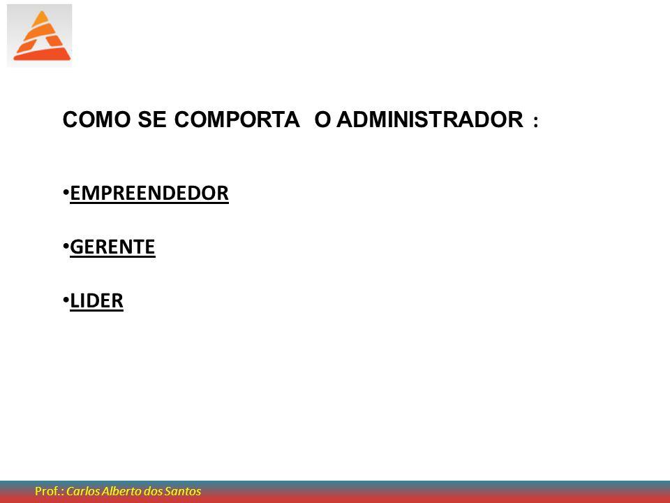 COMO SE COMPORTA O ADMINISTRADOR : EMPREENDEDOR GERENTE LIDER Prof.: Carlos Alberto dos Santos