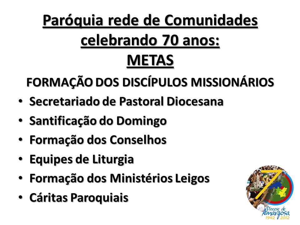 Paróquia rede de Comunidades celebrando 70 anos: METAS FORMAÇÃO DOS DISCÍPULOS MISSIONÁRIOS Secretariado de Pastoral Diocesana Secretariado de Pastora