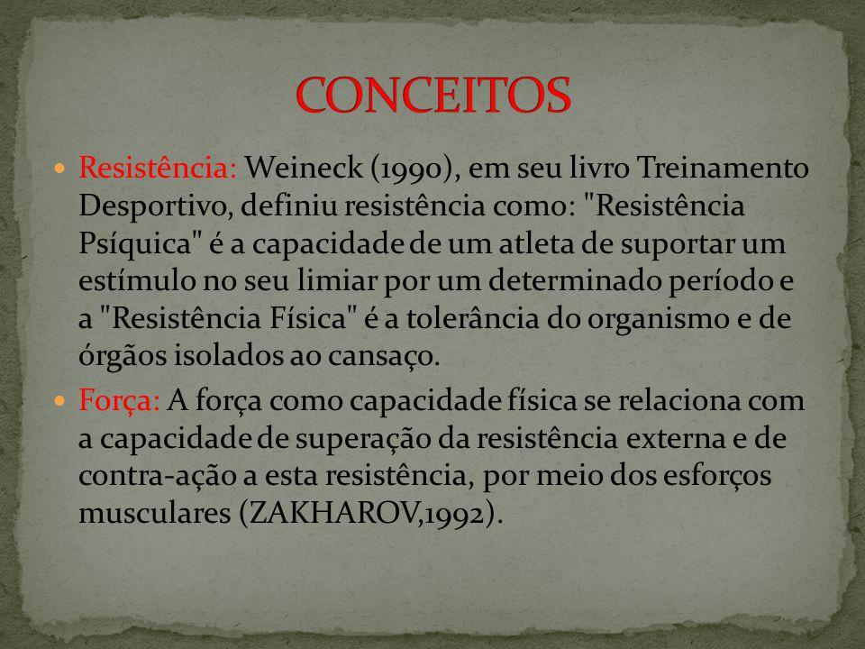 Resistência: Weineck (1990), em seu livro Treinamento Desportivo, definiu resistência como: