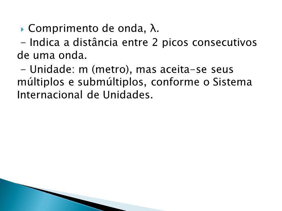 Comprimento de onda, λ.- Indica a distância entre 2 picos consecutivos de uma onda.