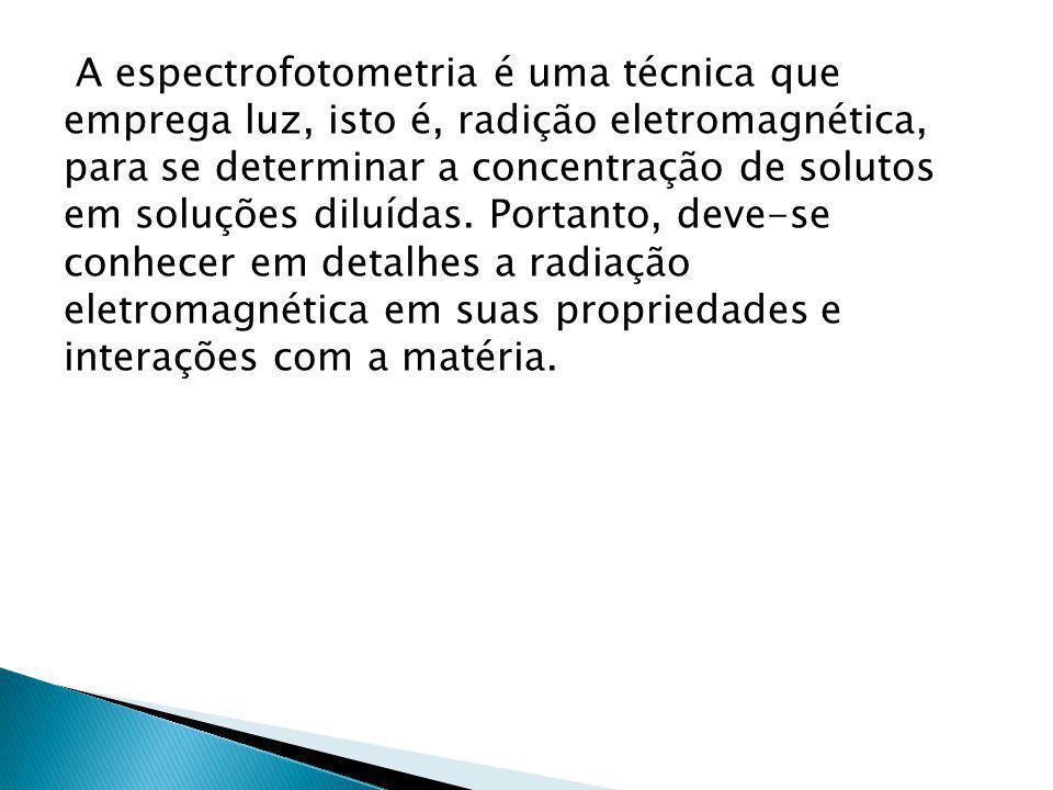 A espectrofotometria é uma técnica que emprega luz, isto é, radição eletromagnética, para se determinar a concentração de solutos em soluções diluídas.