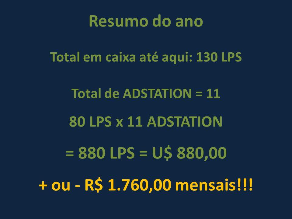 Resumo do ano Total em caixa até aqui: 130 LPS Total de ADSTATION = 11 80 LPS x 11 ADSTATION = 880 LPS = U$ 880,00 + ou - R$ 1.760,00 mensais!!!