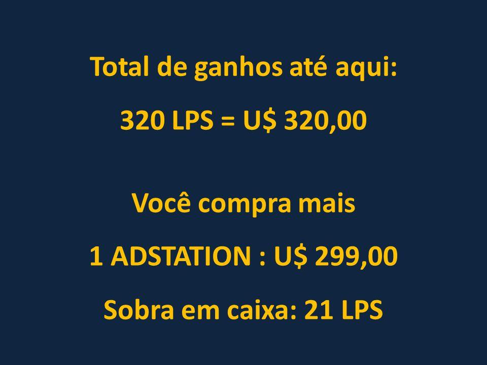 Total de ganhos até aqui: 320 LPS = U$ 320,00 Você compra mais 1 ADSTATION : U$ 299,00 Sobra em caixa: 21 LPS