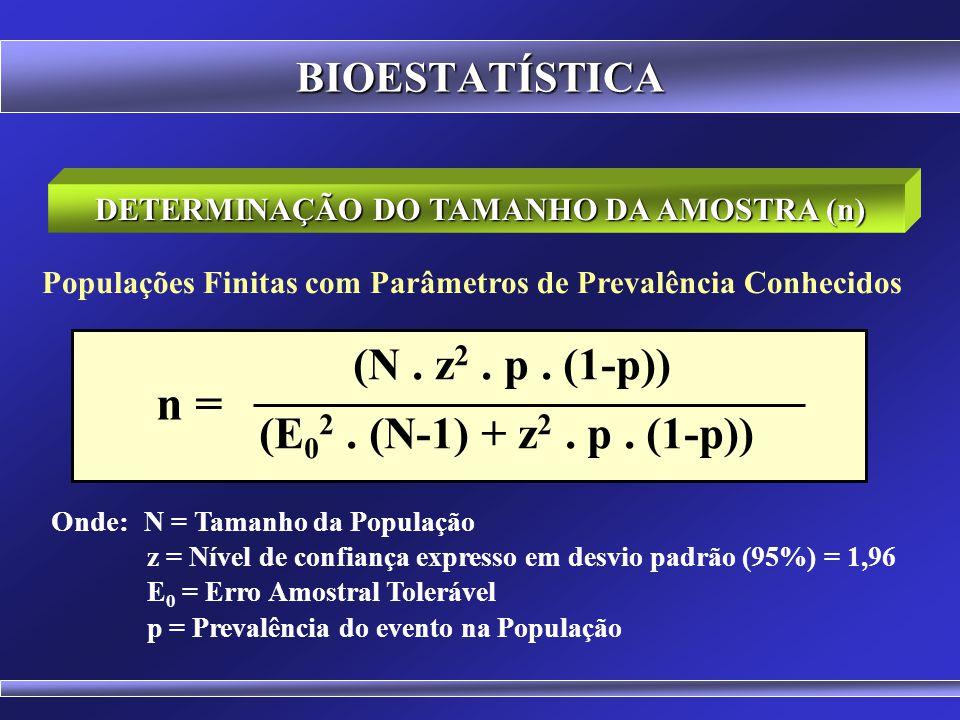 BIOESTATÍSTICA Sejam: n 0 = Primeira aproximação para o tamanho da amostra E 0 = Erro Amostral Tolerável n = Tamanho da Amostra N = Tamanho da Populaç