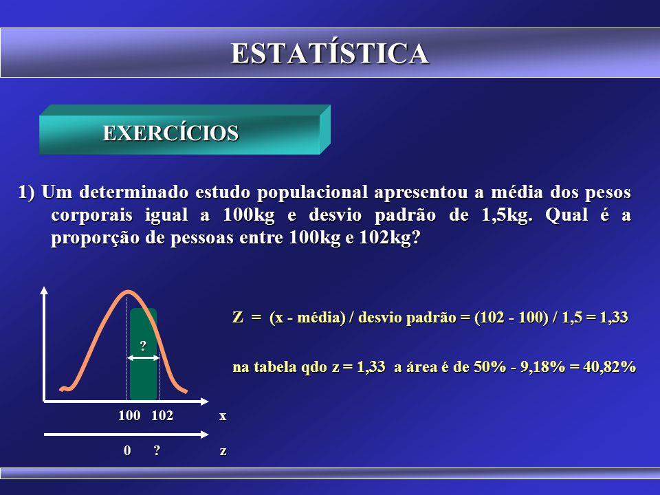 BIOESTATÍSTICA Média, Moda e Mediana No Microsoft Excel 2010 =DIST.NORM.N(x;média;desvio-padrão;VERDADEIRO) - 1 =DIST.NORMP.N(z;VERDADEIRO) - 1 Fornec