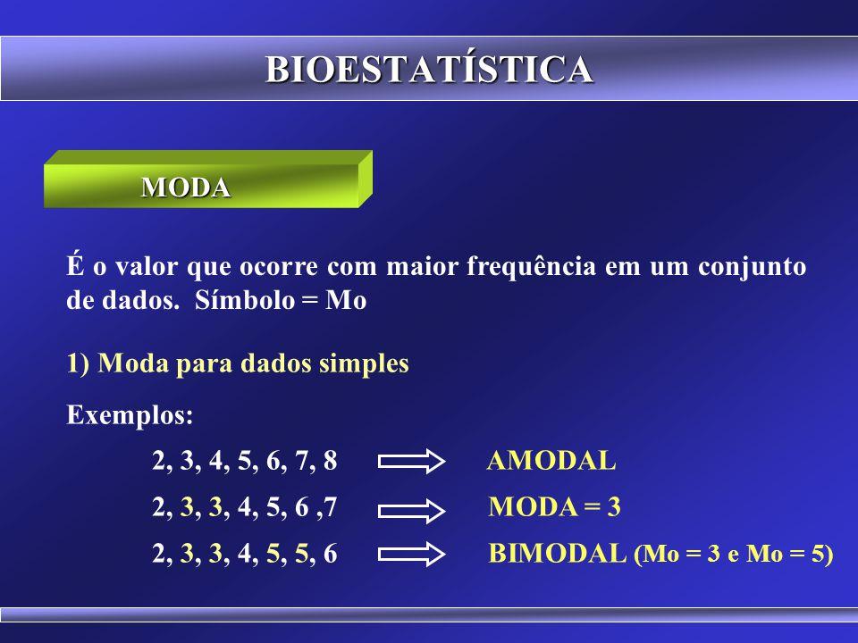 BIOESTATÍSTICA 3) Cálculo da P Md para agrupamentos em classes Interpolação da classe mediana MEDIANA Md = Li + ((P Md - faa) / f ). A Md = 61 + ((13