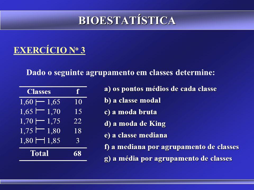 EXERCÍCIO N o 2 Determine o menor valor, o maior valor, a média, a mediana e a moda para o seguinte conjunto de dados BIOESTATÍSTICA 12 32 54 17 82 99