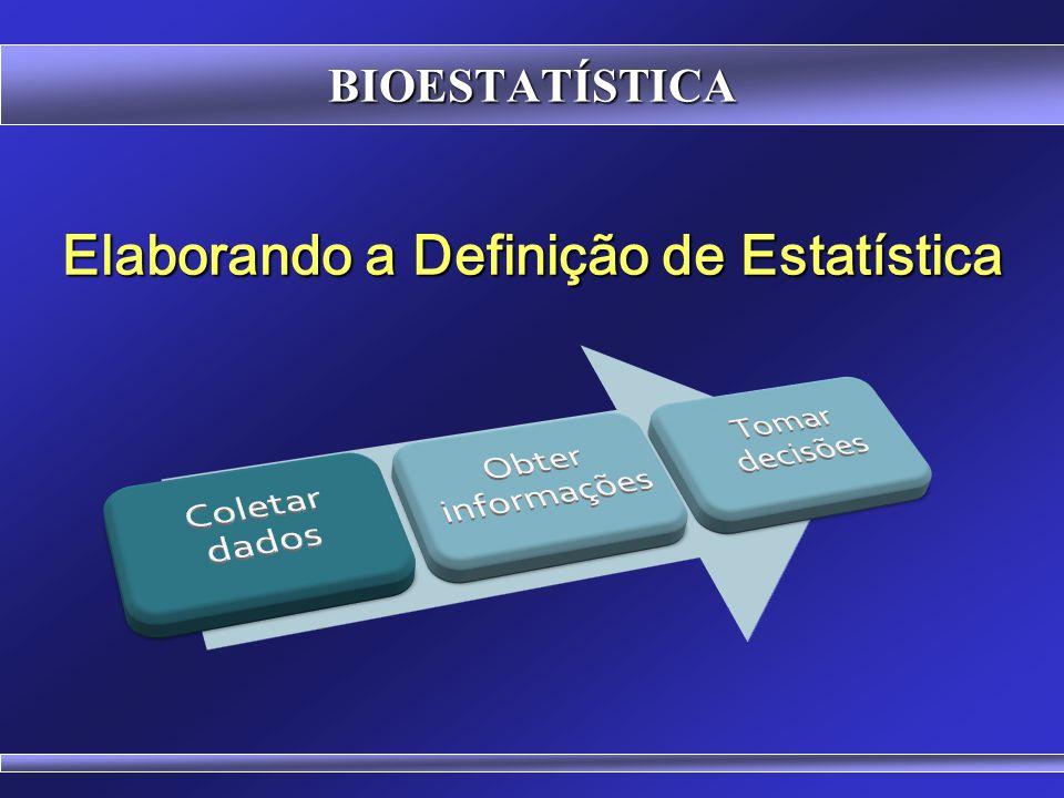 BIOESTATÍSTICA Eu gosto de pensar na Estatística como a ciência de aprendizagem a partir dos dados... Jon Kettenring Presidente da American Statistica
