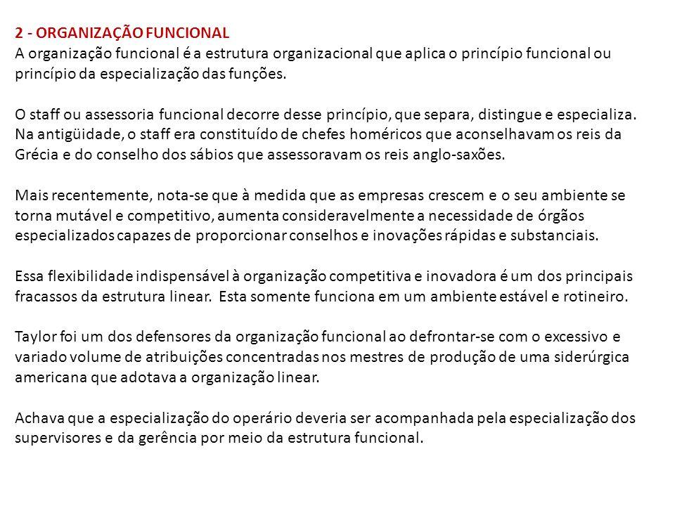 2 - ORGANIZAÇÃO FUNCIONAL A organização funcional é a estrutura organizacional que aplica o princípio funcional ou princípio da especialização das fun