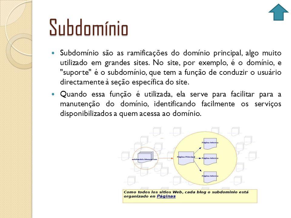 Subdomínio Subdomínio são as ramificações do domínio principal, algo muito utilizado em grandes sites. No site, por exemplo, é o domínio, e