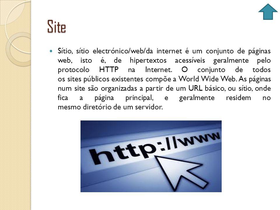 Site Sítio, sítio electrónico/web/da internet é um conjunto de páginas web, isto é, de hipertextos acessíveis geralmente pelo protocolo HTTP na Intern