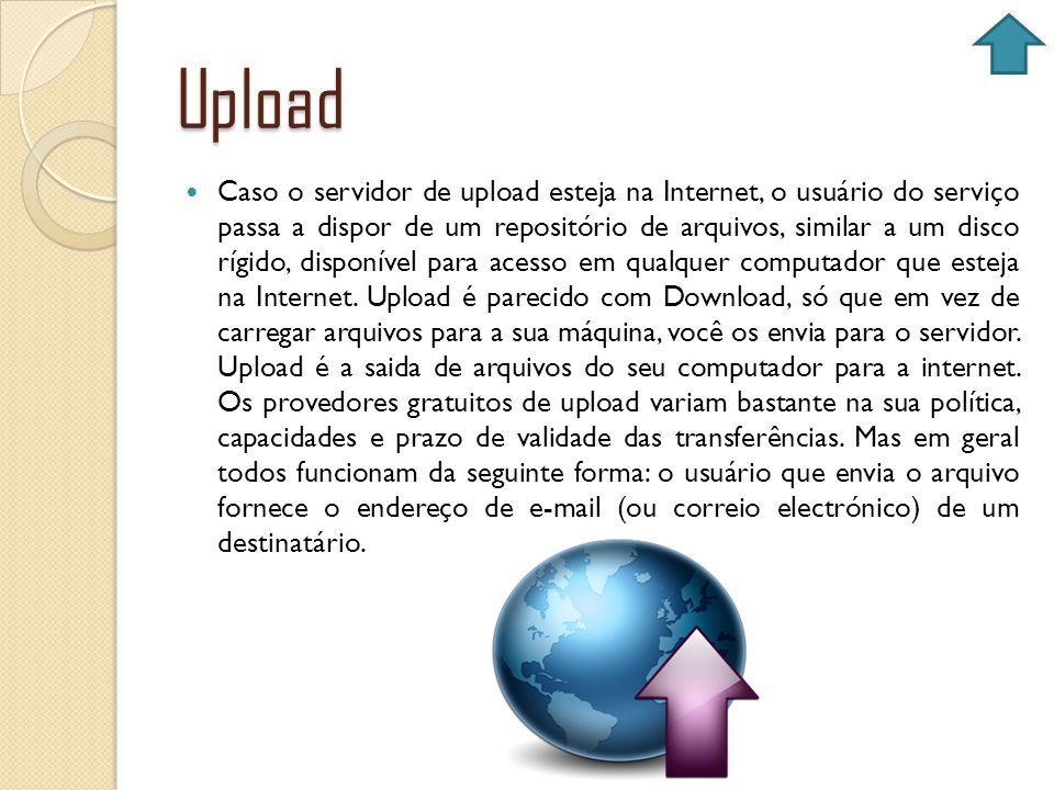 Upload Caso o servidor de upload esteja na Internet, o usuário do serviço passa a dispor de um repositório de arquivos, similar a um disco rígido, dis