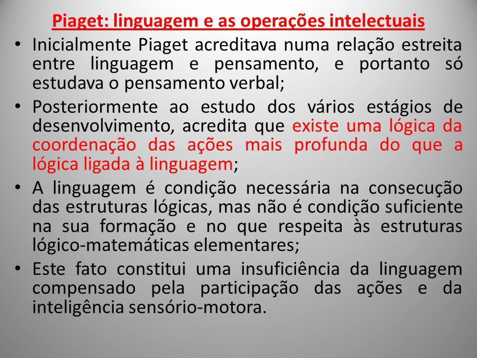 Piaget: linguagem e as operações intelectuais Inicialmente Piaget acreditava numa relação estreita entre linguagem e pensamento, e portanto só estudav
