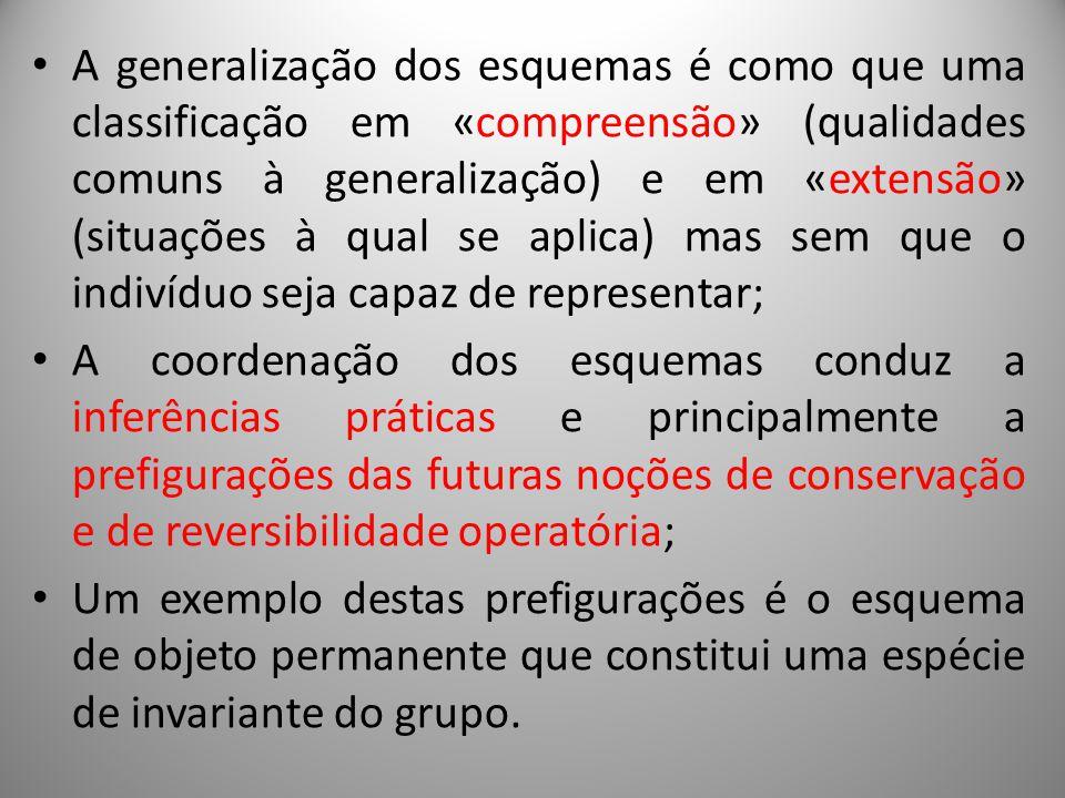 A generalização dos esquemas é como que uma classificação em «compreensão» (qualidades comuns à generalização) e em «extensão» (situações à qual se ap