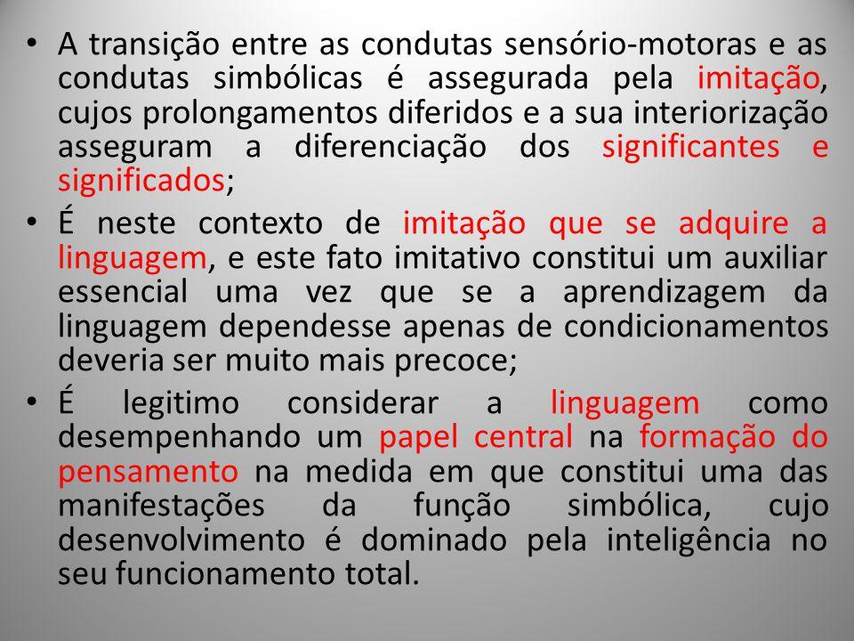 A transição entre as condutas sensório-motoras e as condutas simbólicas é assegurada pela imitação, cujos prolongamentos diferidos e a sua interioriza