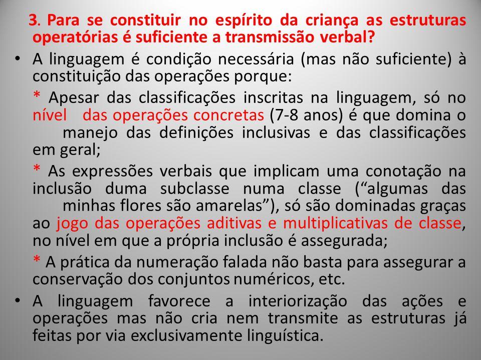 3. Para se constituir no espírito da criança as estruturas operatórias é suficiente a transmissão verbal? A linguagem é condição necessária (mas não s