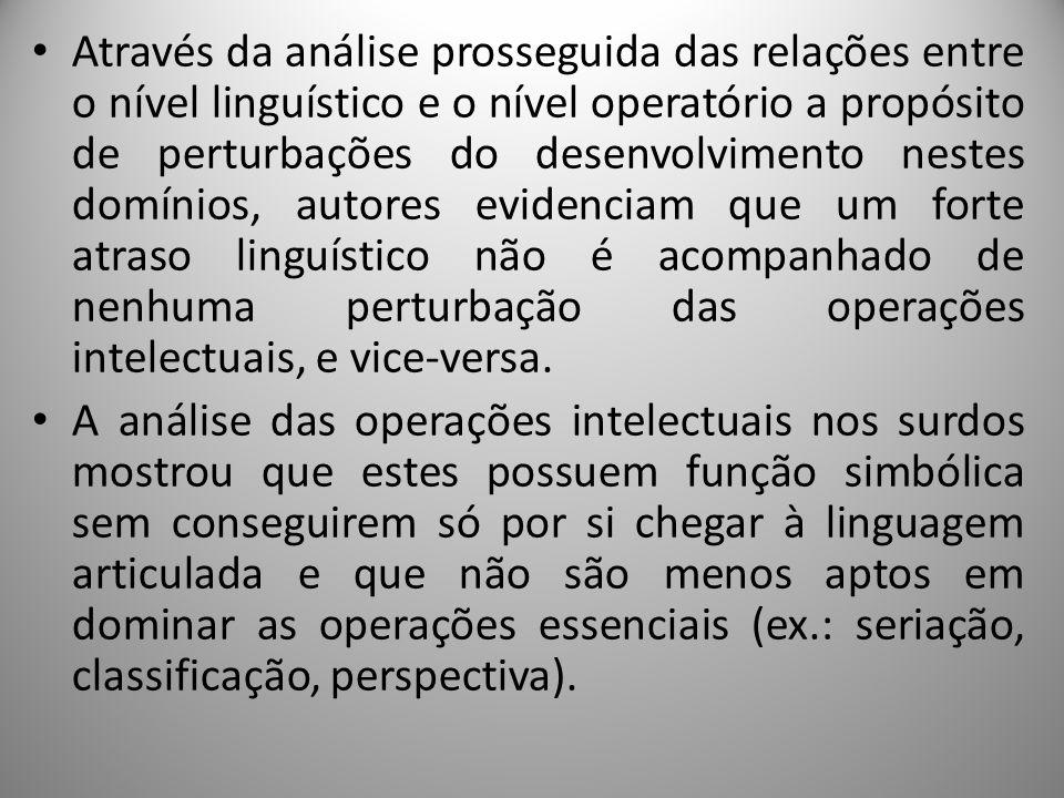 Através da análise prosseguida das relações entre o nível linguístico e o nível operatório a propósito de perturbações do desenvolvimento nestes domín
