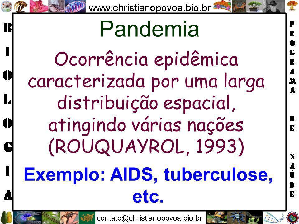 Ocorrência epidêmica caracterizada por uma larga distribuição espacial, atingindo várias nações (ROUQUAYROL, 1993) Pandemia Exemplo: AIDS, tuberculose, etc.