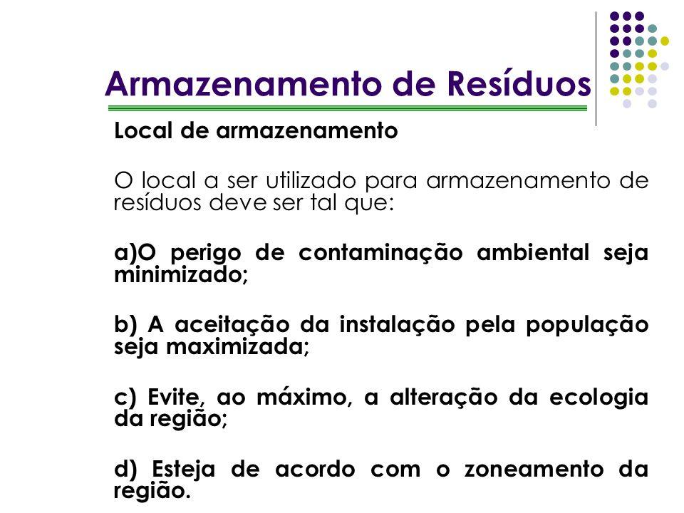 Armazenamento de Resíduos Local de armazenamento O local a ser utilizado para armazenamento de resíduos deve ser tal que: a)O perigo de contaminação a
