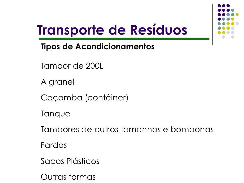 Transporte de Resíduos Tipos de Acondicionamentos Tambor de 200L A granel Caçamba (contêiner) Tanque Tambores de outros tamanhos e bombonas Fardos Sac