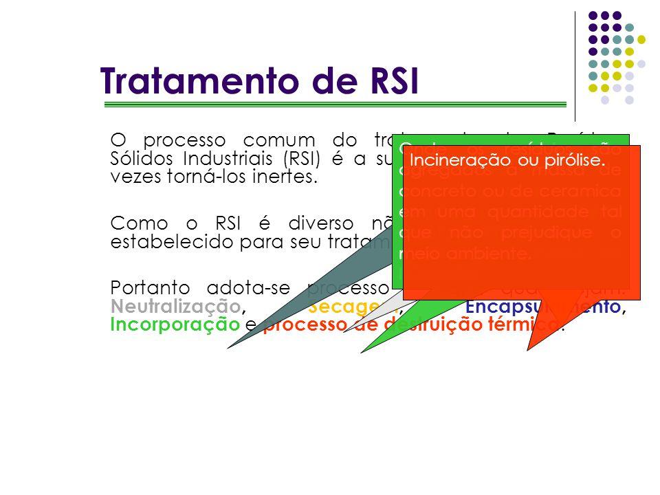 O processo comum do tratamento dos Resíduos Sólidos Industriais (RSI) é a sua reutilização ou certas vezes torná-los inertes. Como o RSI é diverso não